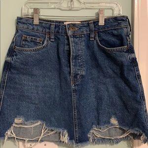 Bershka Distressed Denim Skirt
